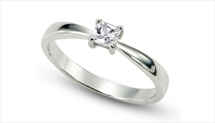 Silver Princess Cut Engagement Ring