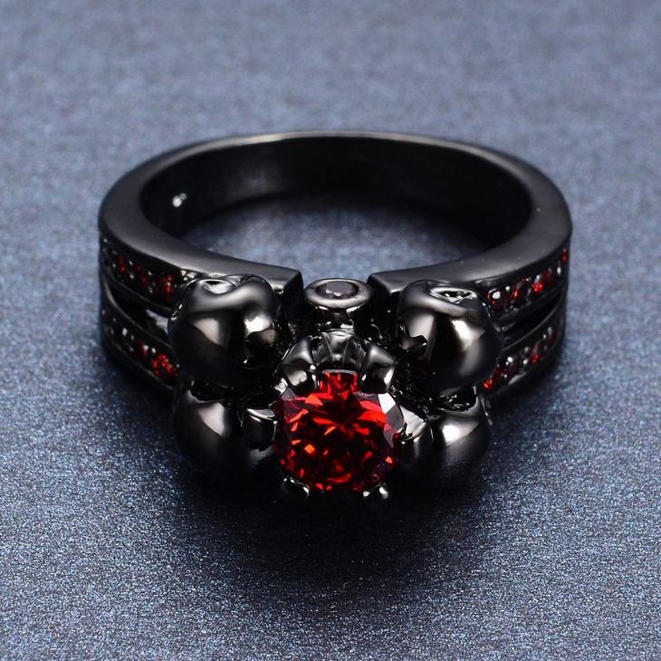 Black Skull Engagement Ring