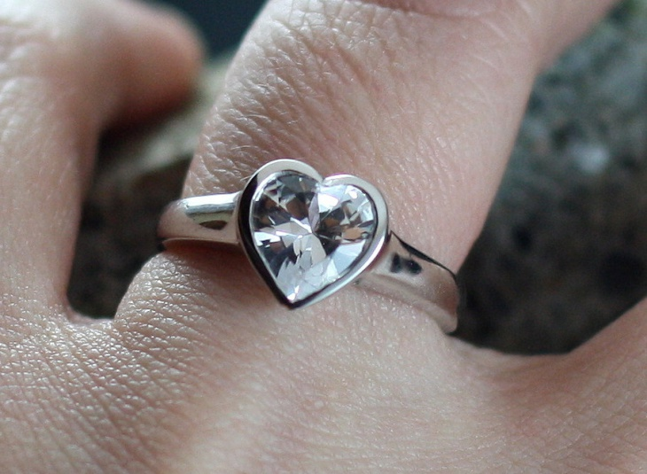 white sapphire heart engagement ring