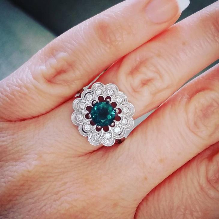 Vintage Flower Engagement Ring