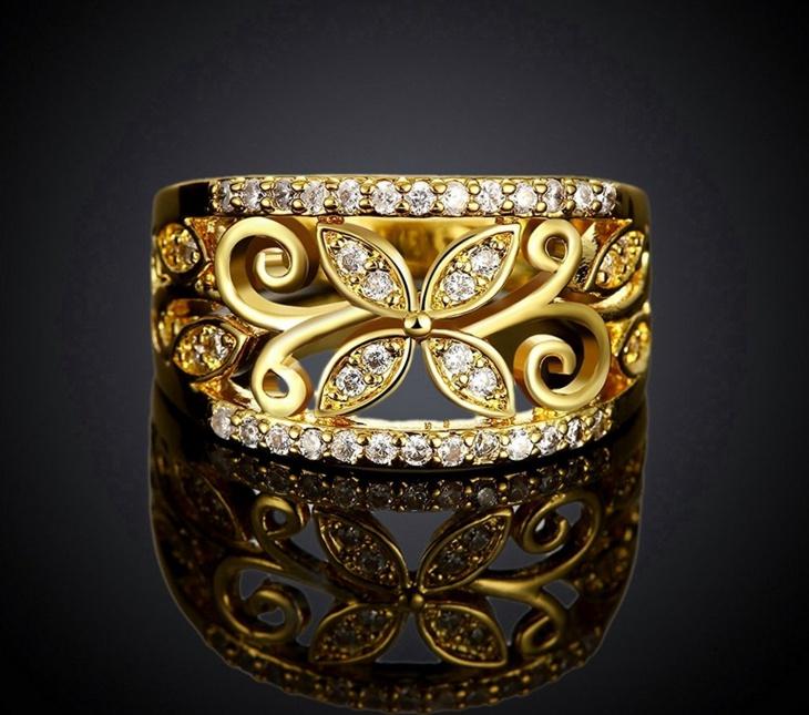 Gold Flower Engagement Ring