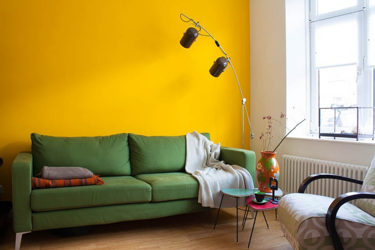 Yellow Wall Ethnic Living Room