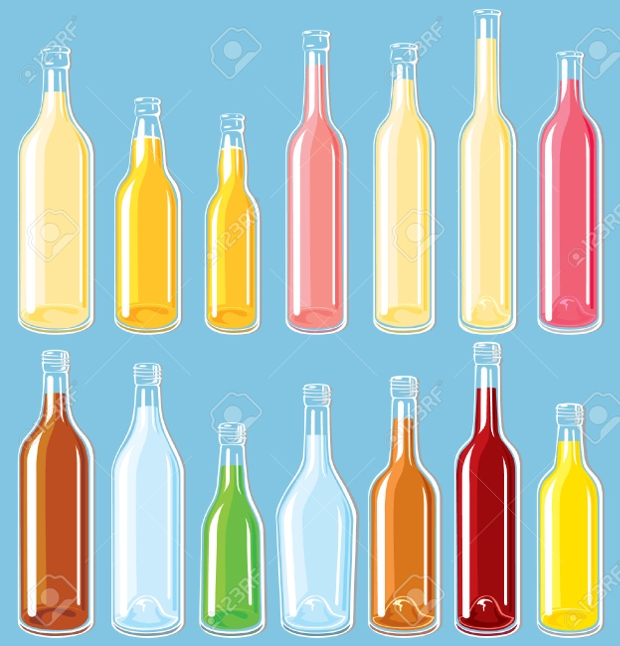 filled bottle vector set