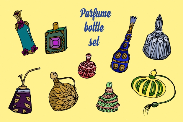 perfume bottles vector set