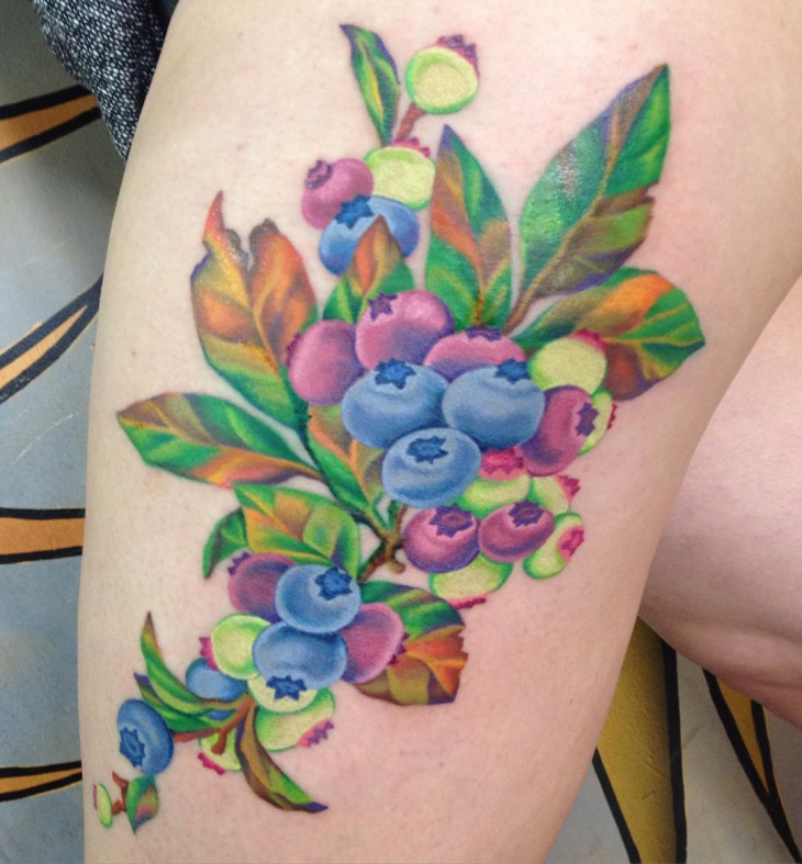 Watercolor Blueberry Tattoo