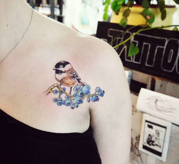 Bird Blueberry Tattoo Idea