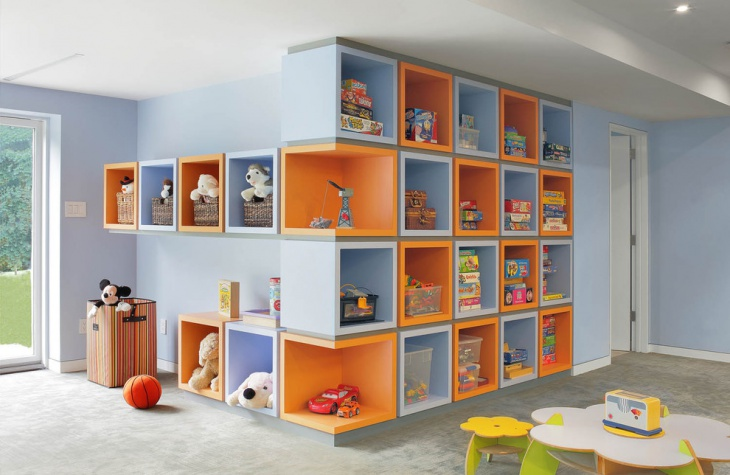 kids playroom storage shelves