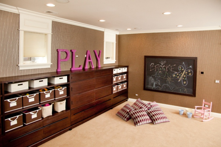 Kids Playroom Wooden Toy Storage Idea