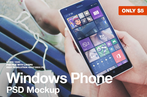 Responsive Windows Phone Psd Mockup