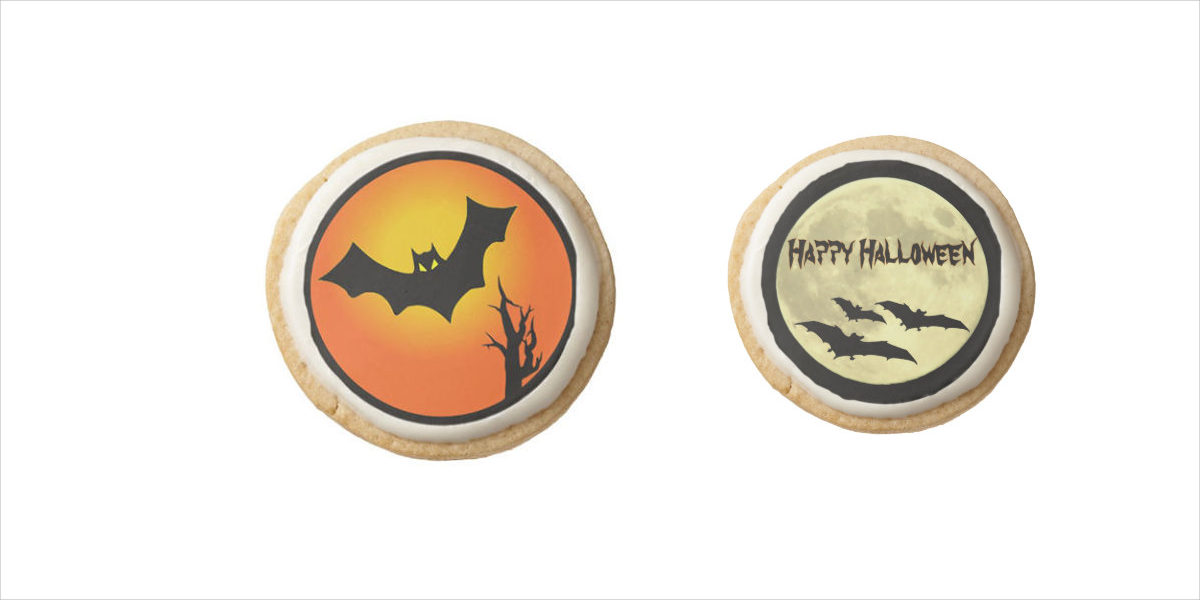 zazzle bat and moon halloween shortbread cookies