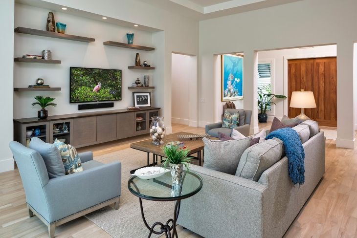 Floating Cabinets Living Room Idea