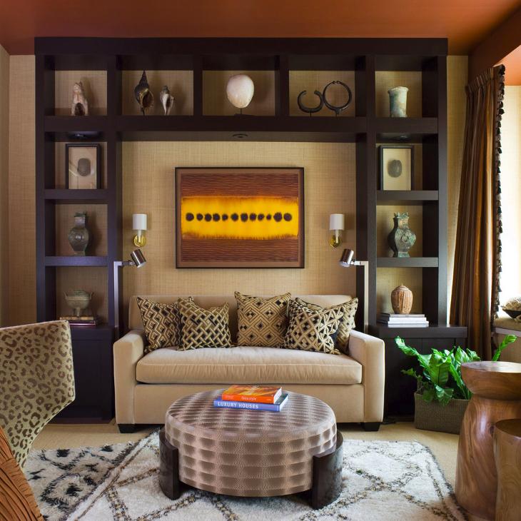 Square shelves living room interior