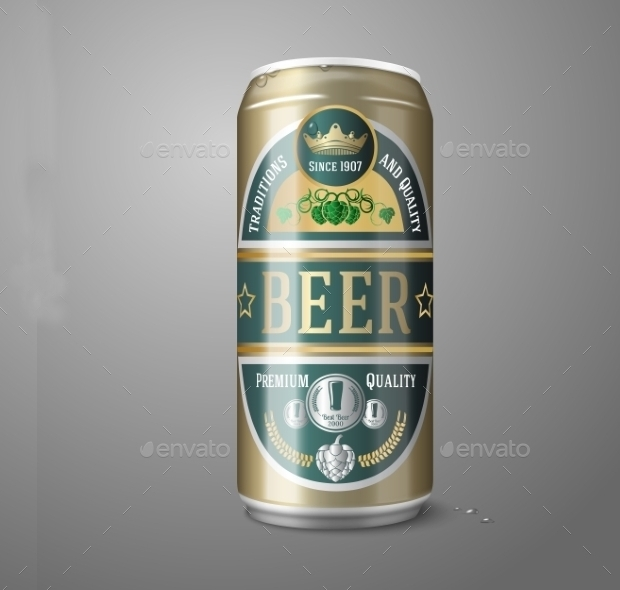 Gold Beer Can Label