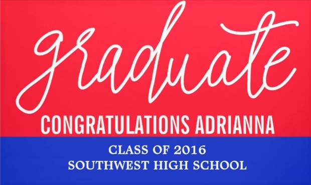 hand written graduation banner