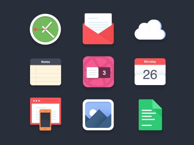 Free Flat PSD Icons
