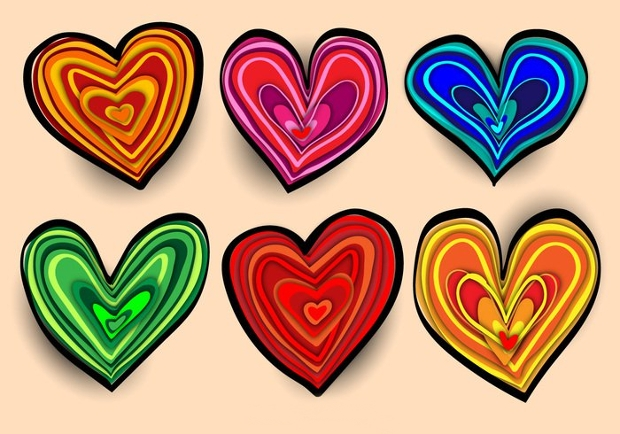Colorful Hand Drawn Heart Vector