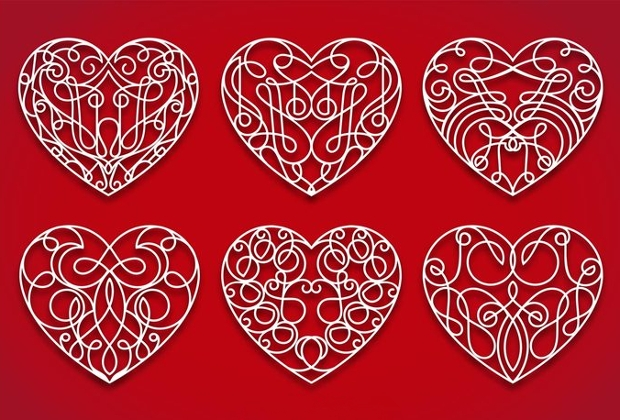 Ornament Heart Vector Design
