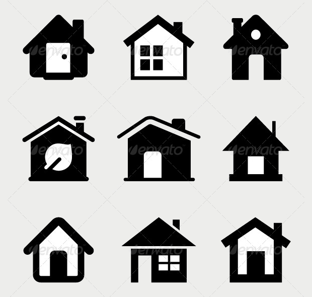 black and white home icons