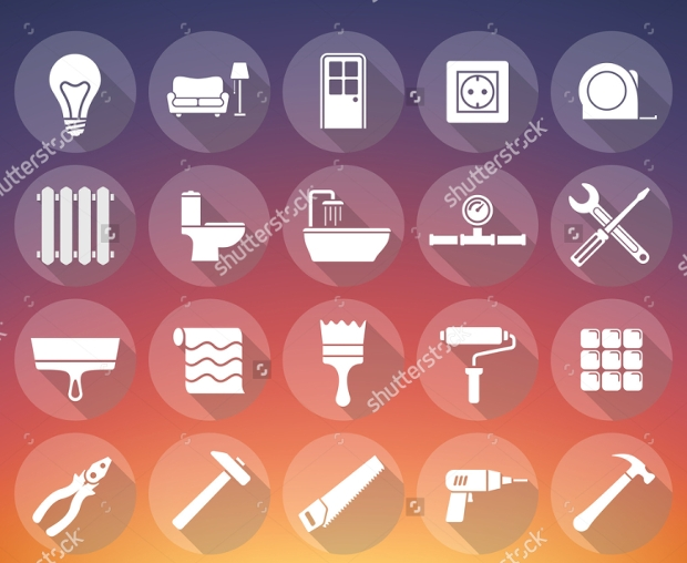 home renovation flat icons