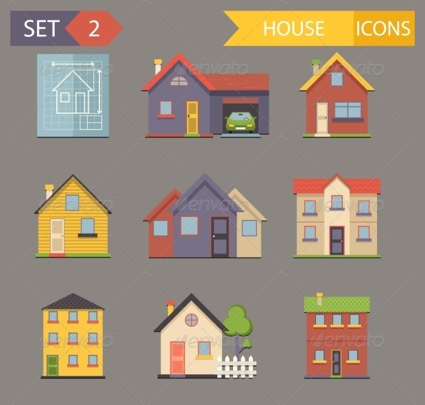 Retro Flat House Icons