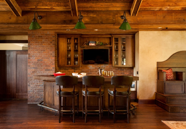rustic home bar with brick backsplash