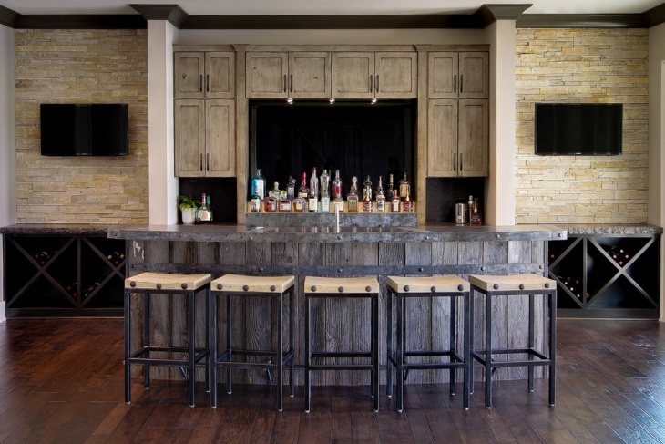 rustic home bar remodeling design