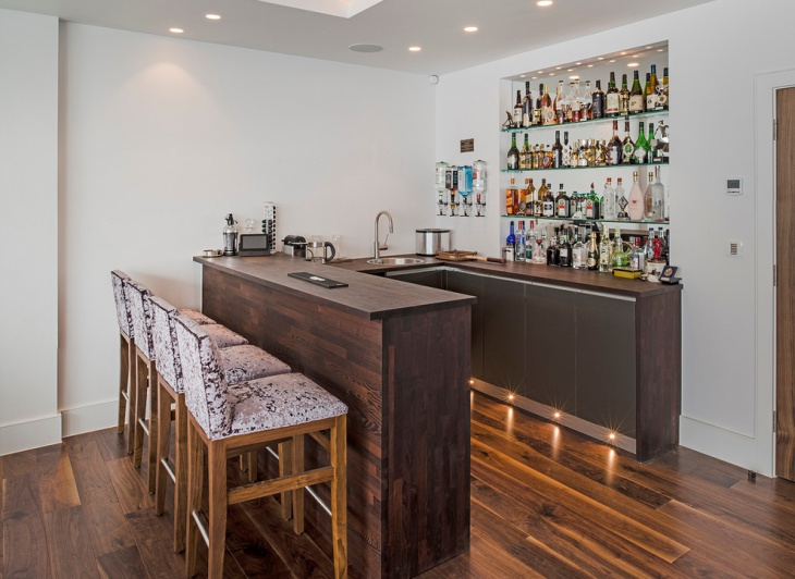 Small Corner Home Bar Design