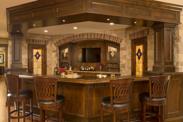 Superb Classic Home Bar Stone Wall Design