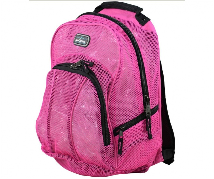 Pink Mesh Backpack Design
