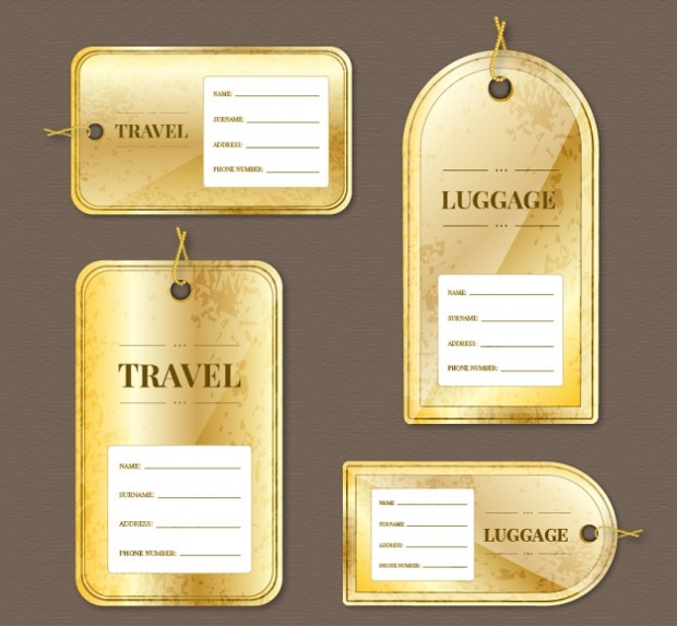 Golden Luggage Tag Design