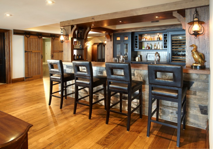 rustic cottage home bar design