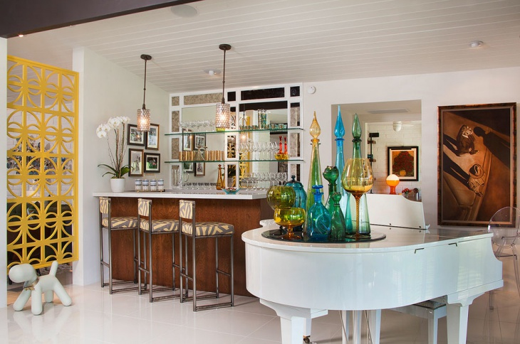 mid century retro home bar design