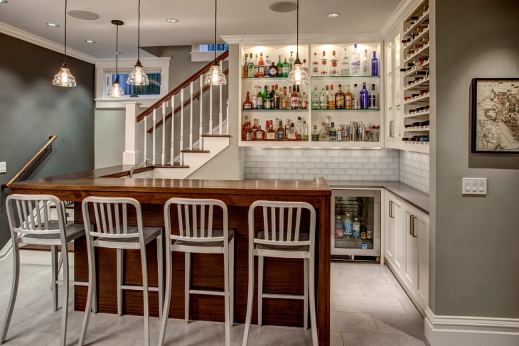 wooden countertop home bar design