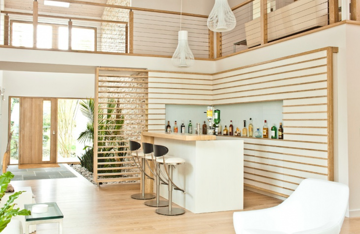 elegant white home bar design