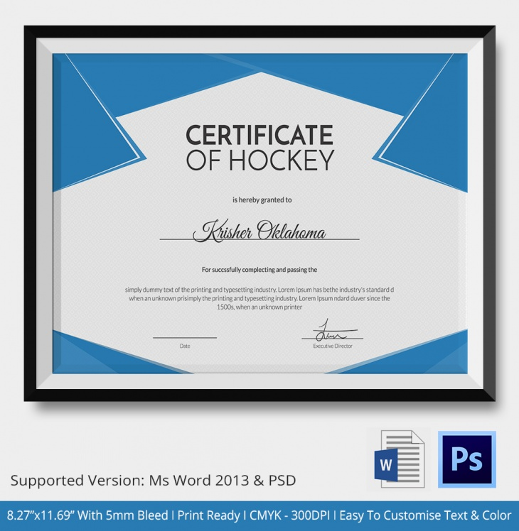 Hockey Certificate Template