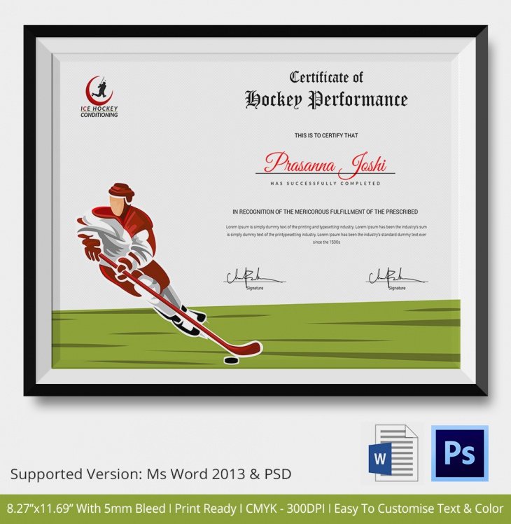 Hockey Certificate of Recognition