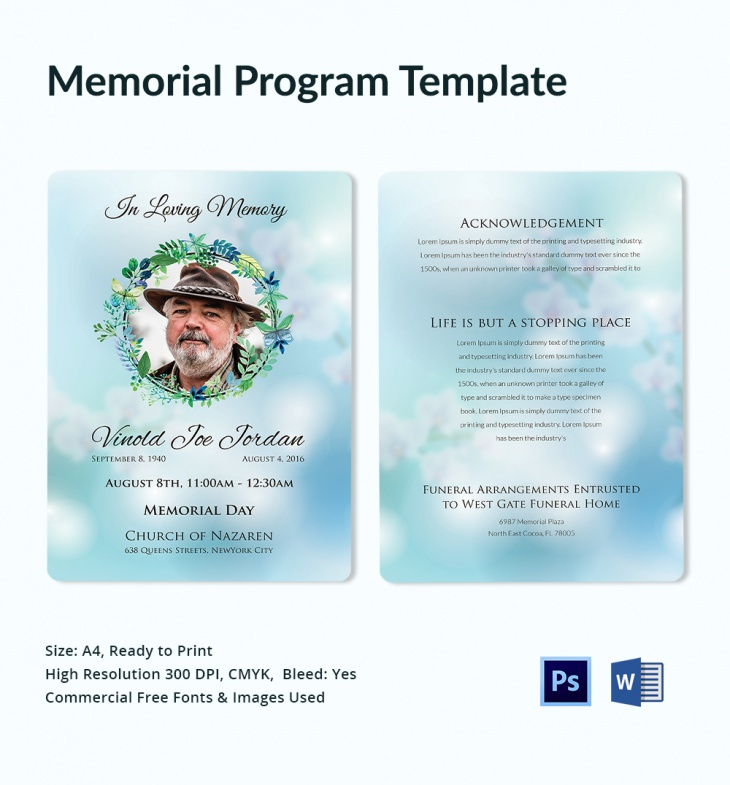 Memorial Program Templates  Free Word Pdf Psd Documents