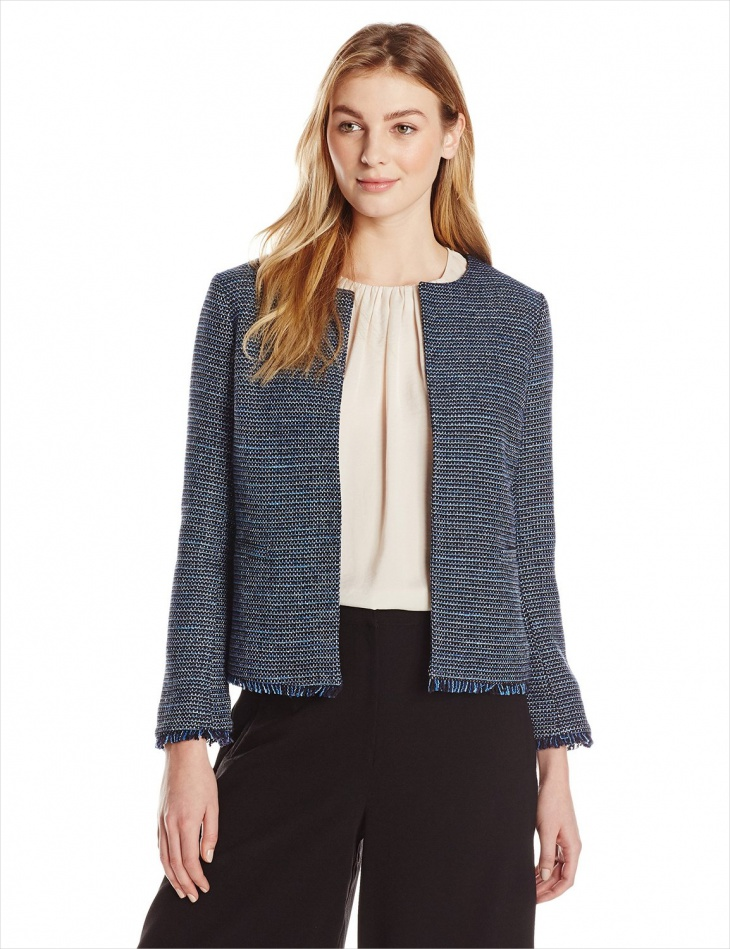 Blue Tweed Jacket for Women