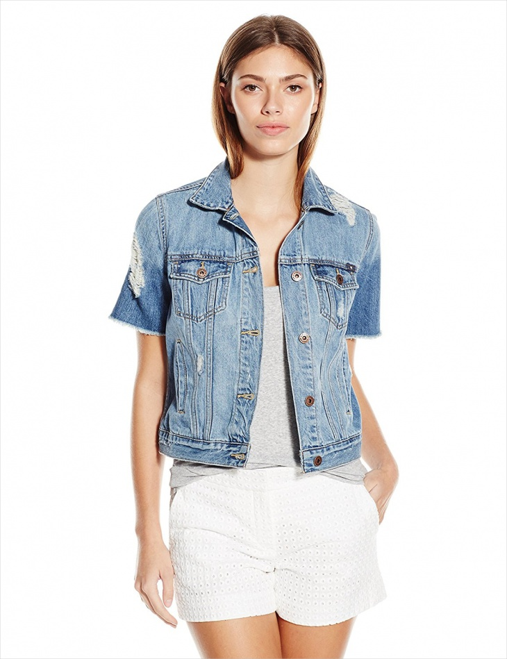 Women's Short Sleeve Denim Jacket