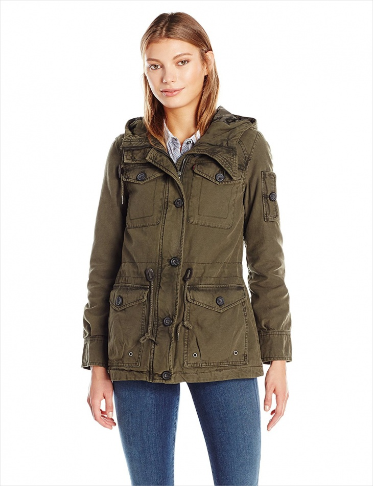 Cotton Military Jacket for Women