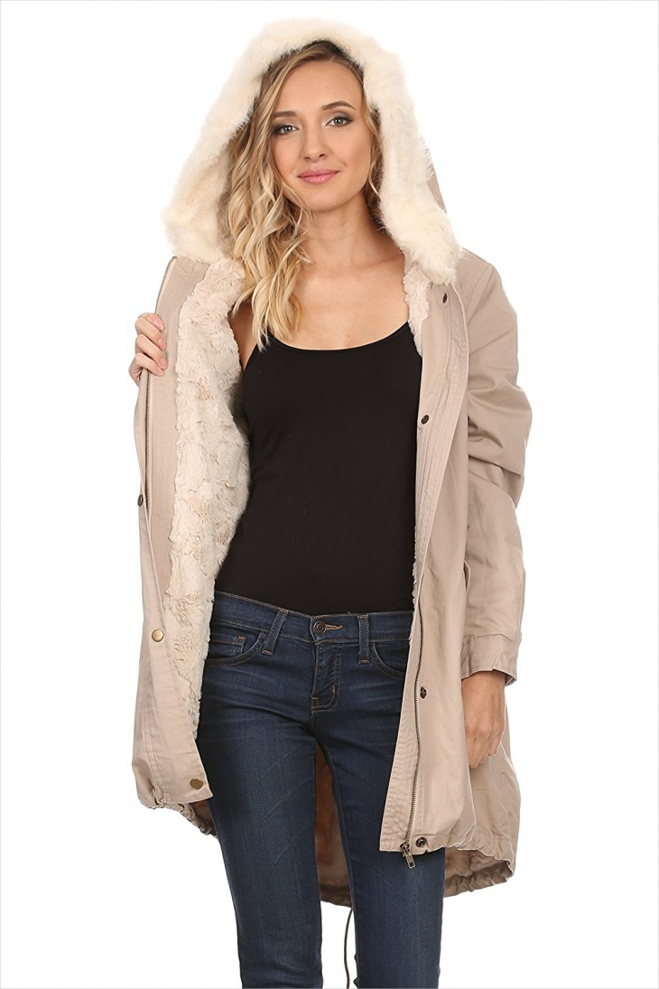 Women's padded Jacket with Fur Hood