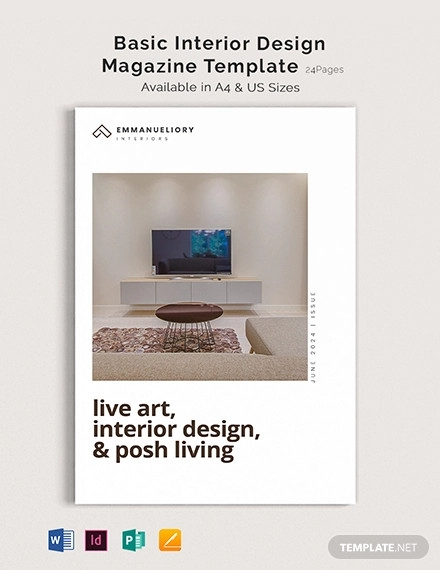 basic interior design magazine template