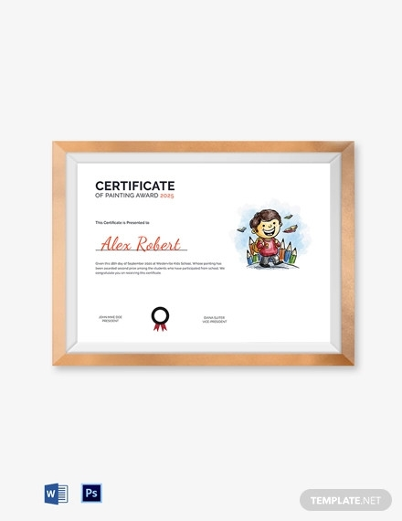 certificate of painting award template