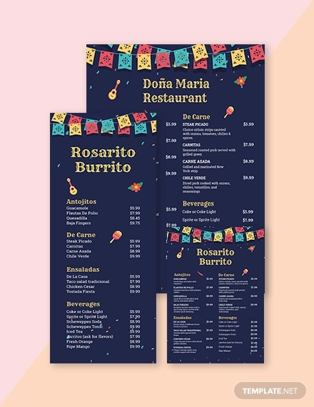 chalkboard mexican menu template