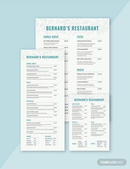 family restaurant menu template