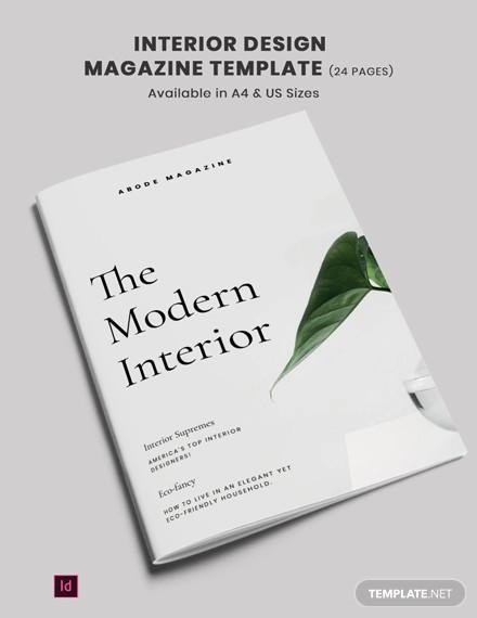 interior design magazine template