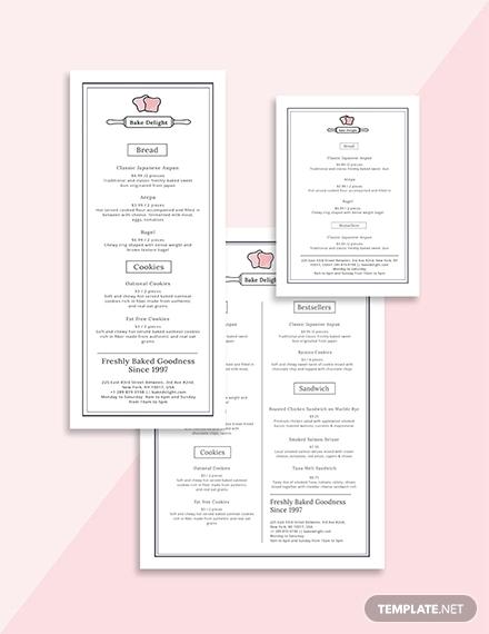 simple bakery menu template