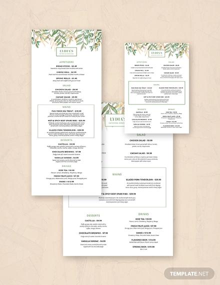 simple catering menu template