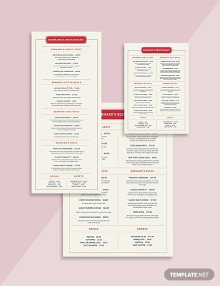 simple family restaurant menu template