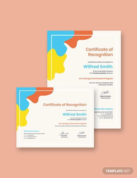 painting award certificate